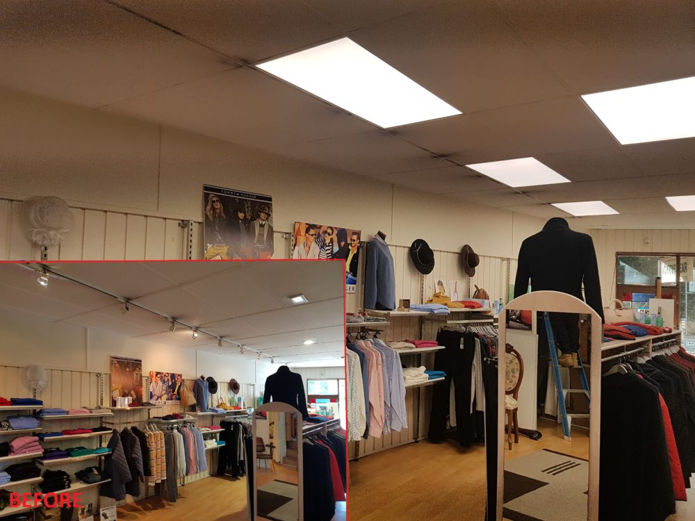 Whytes Clothing Shop Lighting, Power by Watts Electrician